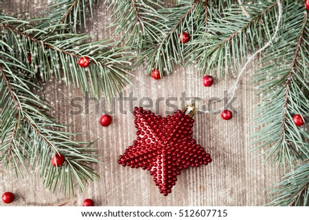 Fir branch with Christmas star and red berries