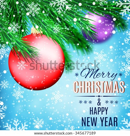 Fir tree branches on winter background with red ball and snowfall. Christmas and New Year theme. Concept for greeting or postal card. illustration.   Raster version. - stock photo