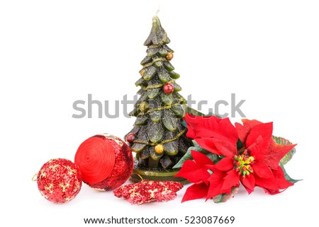 Fir tree candle, balls and holly berry flower isolated on white background.