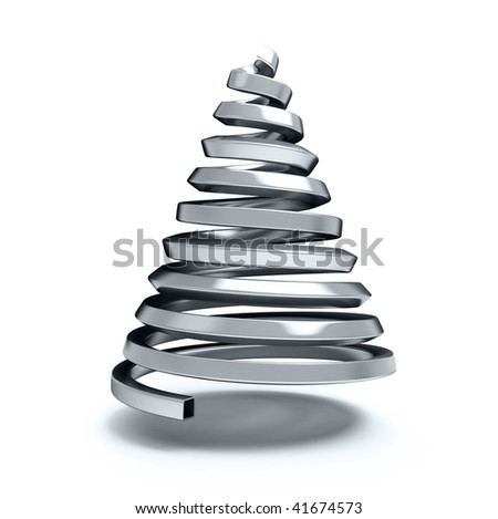 fir-tree from a metallic pipe - stock photo