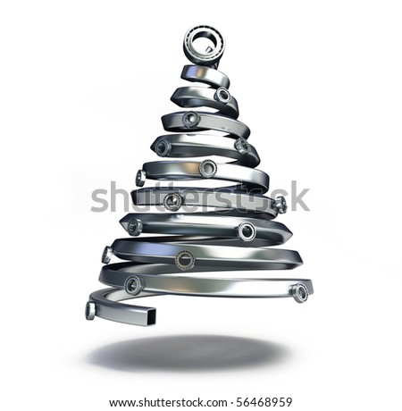 fir tree from a metallic pipe on a white background - stock photo