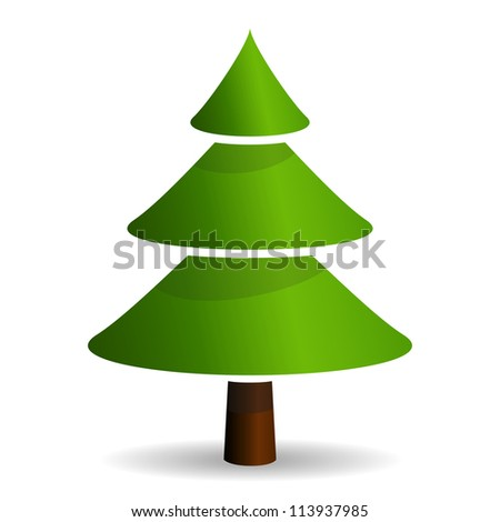 Fir tree icon isolated on white background - stock photo