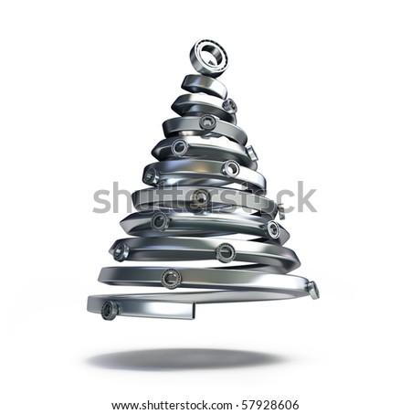 fir tree metal - stock photo