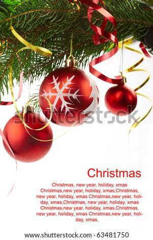 fir-tree xmas, text congratulation - stock photo