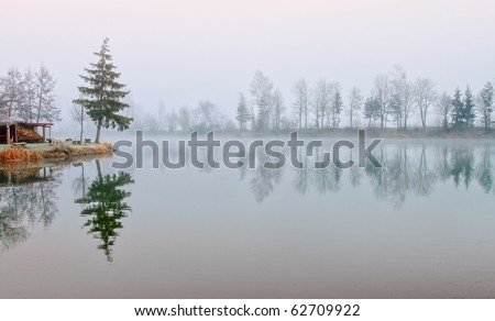 Fir trees reflecting in still lake water on cold misty morning - stock photo