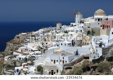 Fira city view, unique white architecture - stock photo