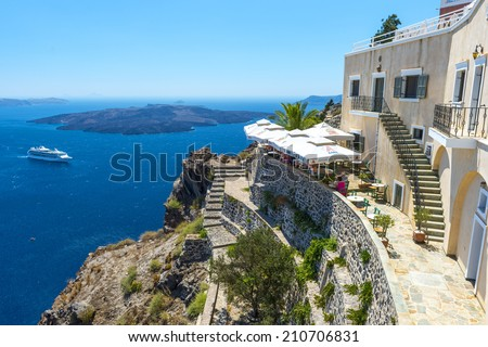 Fira,Santorini, Greece - July 21, 2014: Beautiful View From Fira in Santorini, Greece - stock photo