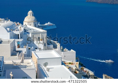 Fira. View of the old harbor.