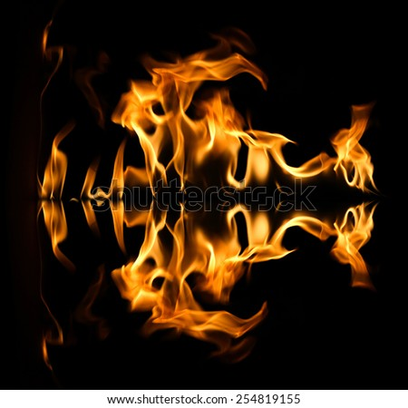 Fire abstract and flames shapes on a black background