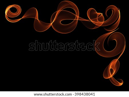 Fire abstract swirls and waves - stock photo