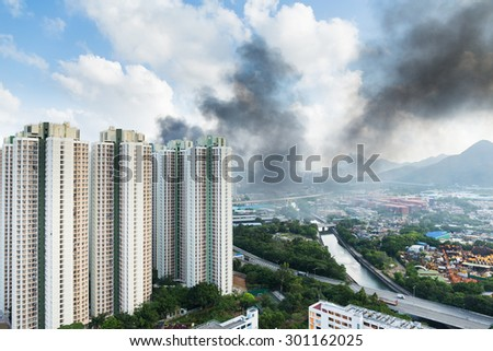 Fire accident in apartment building - stock photo