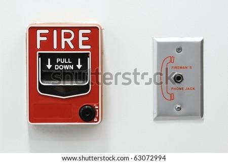 fire alarm button emergency - stock photo