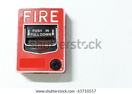 Fire alarm button security point - stock photo