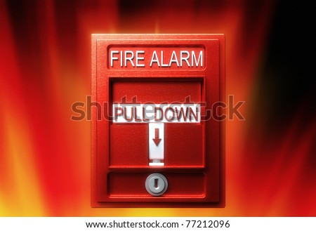 Fire alarm, 3d render, over fire background