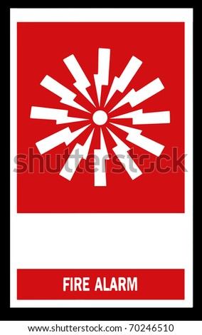 Fire alarm emergency signs and symbols. - stock photo