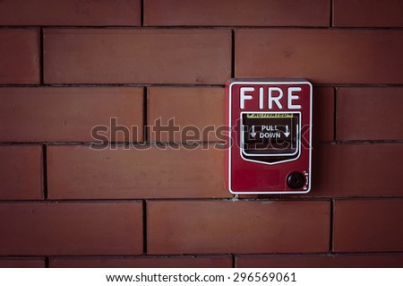 fire alarm on  brick wall   vintage style