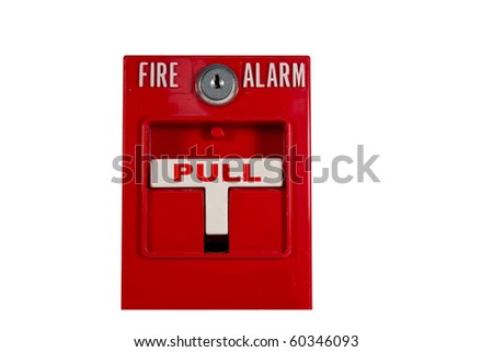 fire alarm pull station isolated over white with clipping path at this size