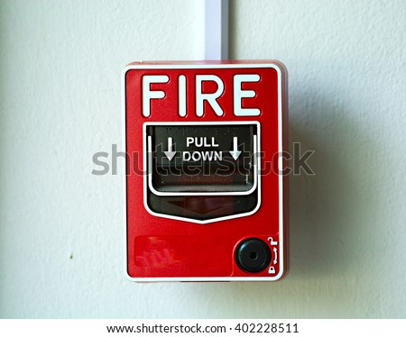 Fire alarm switch - stock photo