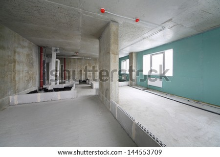 Fire alarm system, wet zone in flat in building under construction. - stock photo