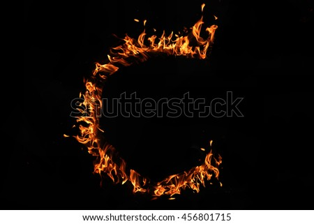 Fire alphabet letter A-Z isolated on black background.