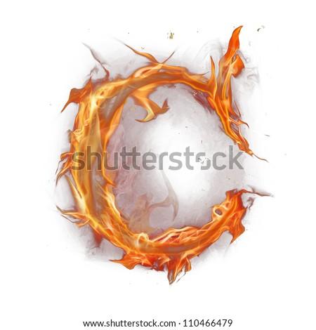 "Fire alphabet letter ""C"" - stock photo"