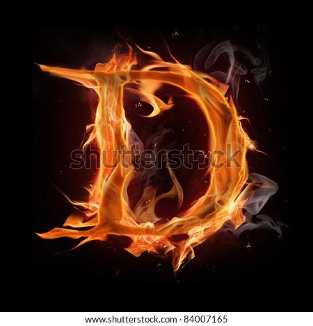 """Fire alphabet letter """"D"""" - stock photo"""