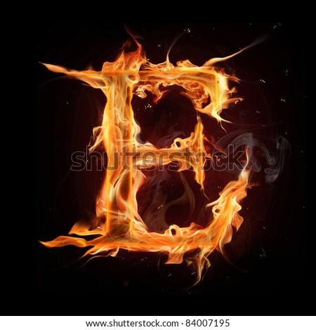 "Fire alphabet letter ""E"" - stock photo"