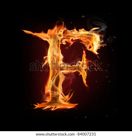 "Fire alphabet letter ""F"" - stock photo"