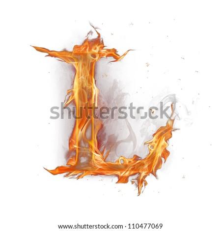 """Fire alphabet letter """"L"""" - stock photo"""