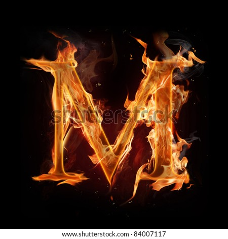 "Fire alphabet letter ""M"" - stock photo"