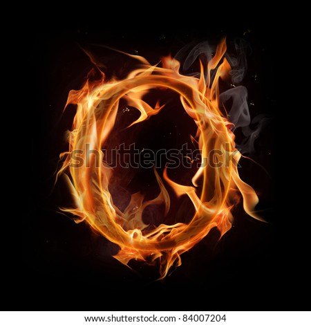 "Fire alphabet letter ""O"" - stock photo"