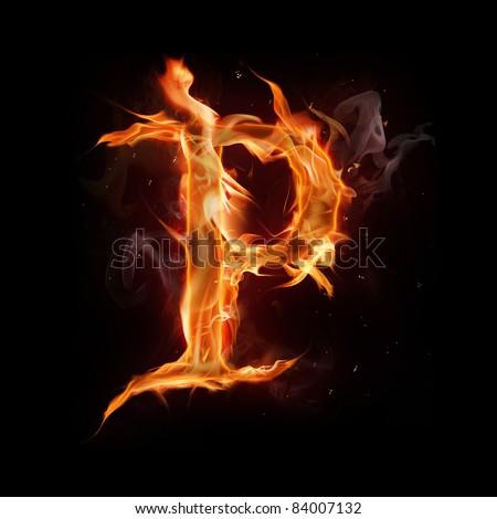 "Fire alphabet letter ""P"" - stock photo"