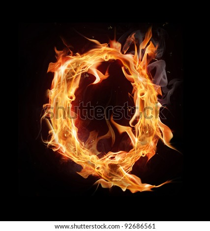 "Fire alphabet letter ""Q"" - stock photo"