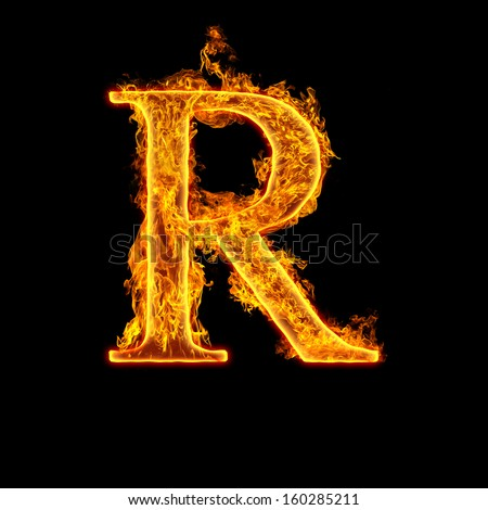 Fire alphabet letter R isolated on black background. - stock photo