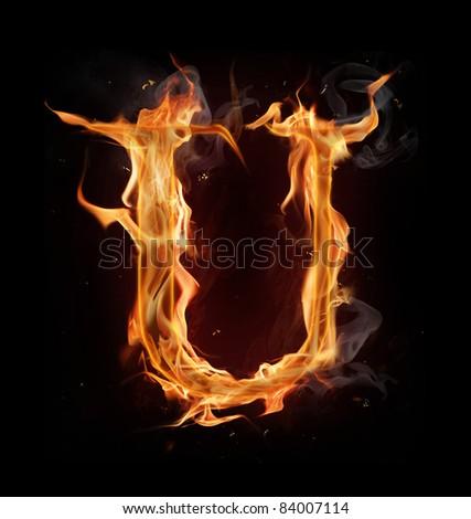 "Fire alphabet letter ""U"" - stock photo"