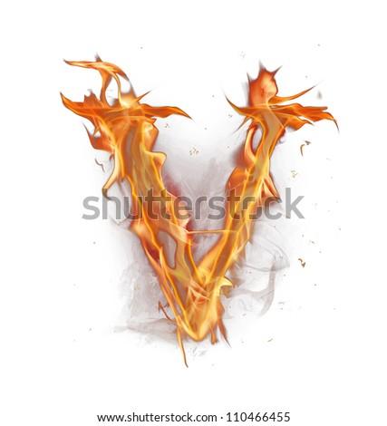 """Fire alphabet letter """"V"""" - stock photo"""