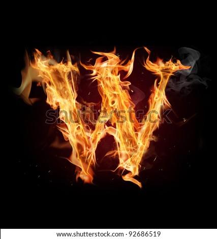 "Fire alphabet letter ""W"" - stock photo"