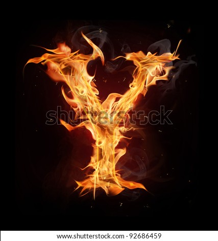 "Fire alphabet letter ""Y"" - stock photo"