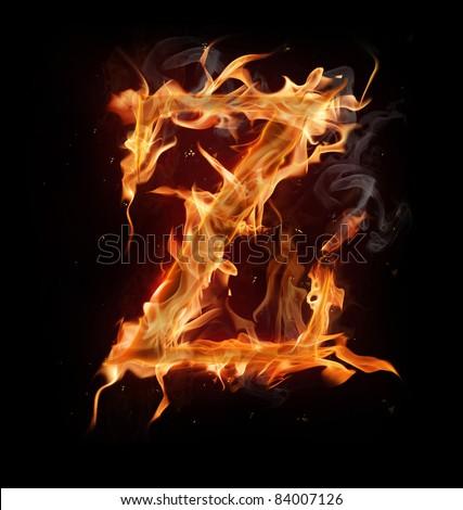 "Fire alphabet letter ""Z"" - stock photo"