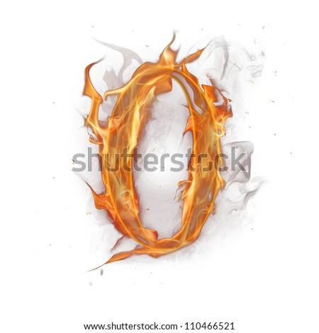 Fire alphabet number 0 - stock photo