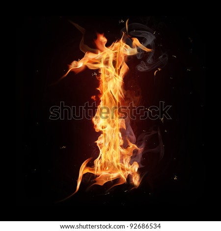 "Fire alphabet number ""1"" - stock photo"