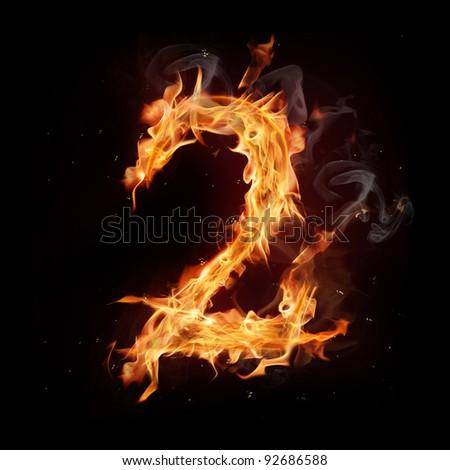 "Fire alphabet number ""2"" - stock photo"