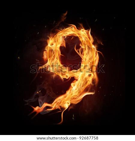 "Fire alphabet number ""9"" - stock photo"