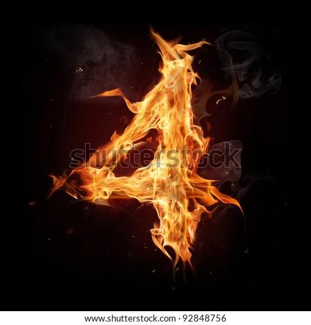 "Fire alphabet number ""4"" - stock photo"