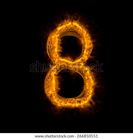 "Fire alphabet number ""8"" isolated on black - stock photo"