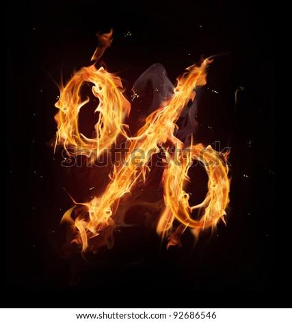 Fire alphabet percent sign - stock photo