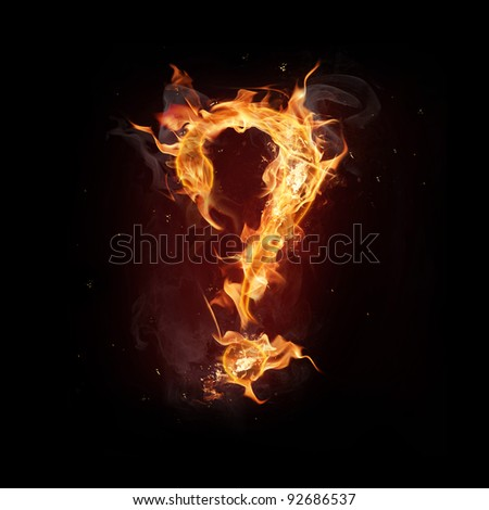 "Fire alphabet question mark"" - stock photo"