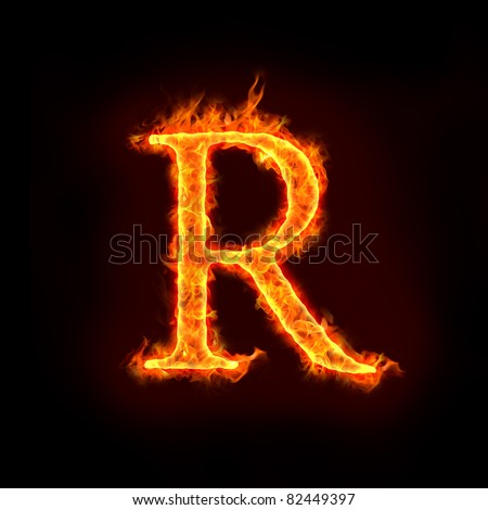 fire alphabets in flame, letter R - stock photo