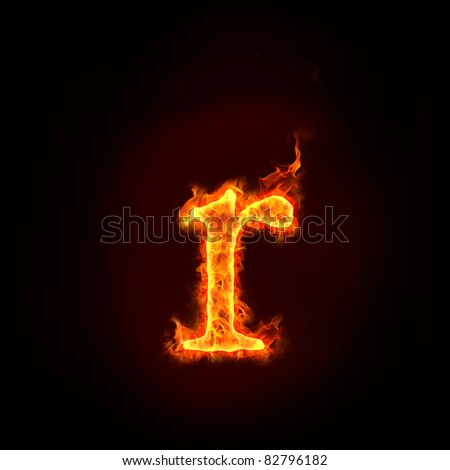 fire alphabets in flame, small letter R - stock photo