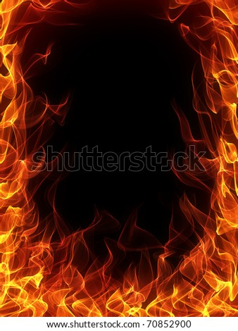 Fire and flame frame - stock photo